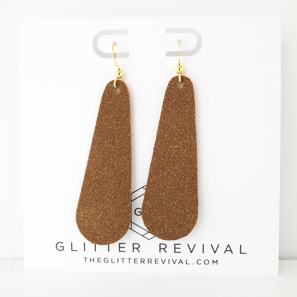Saddle Vegan Suede Simple Drop Earring