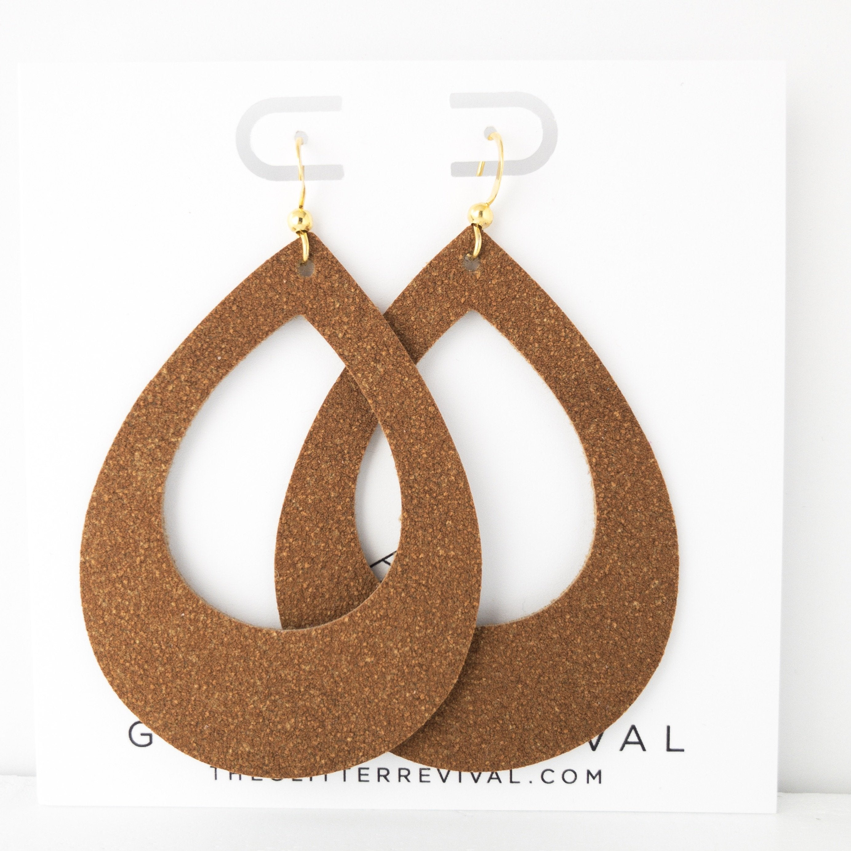Saddle Vegan Suede Teardrop Cutout Hoop Earring