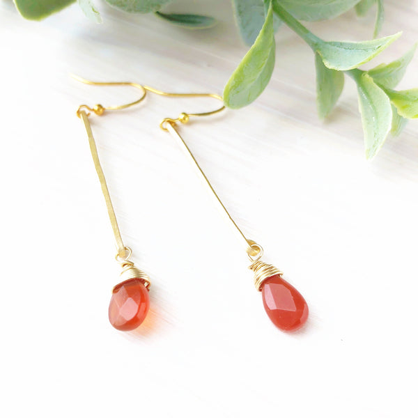 Slim Hammered Carnelian Dangle Earrings