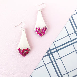 Glitter Dipped Triangle Dangle Earring- Berry Crush