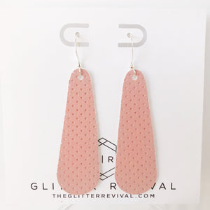 Pink Perforated Vegan Suede Simple Drop Earring