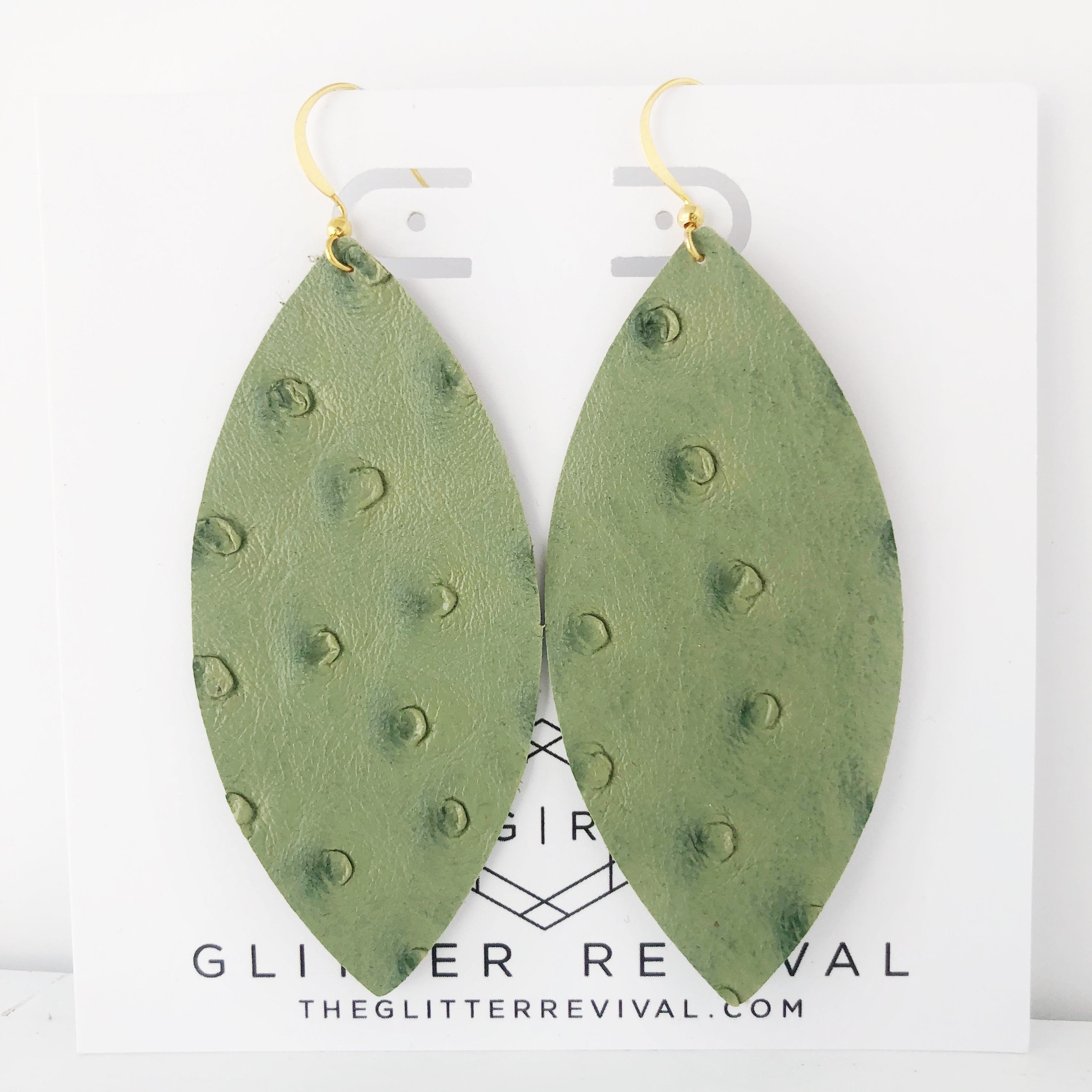 Olive Ostrich Vegan Leather Petal Earring