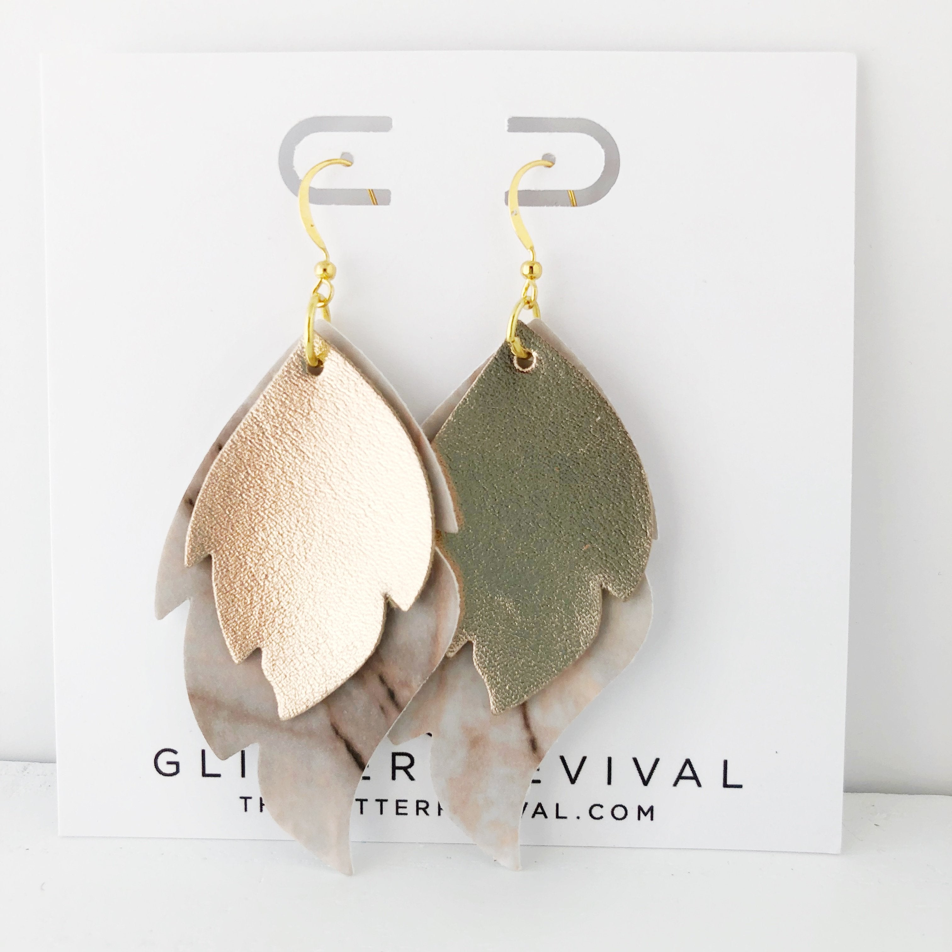Rose Gold Marble Layered Leaf Earrings