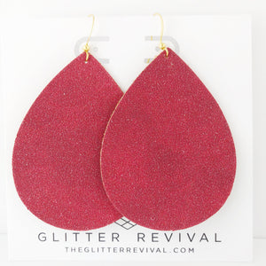 Red Vegan Glitter Suede Jumbo Teardrop Earring