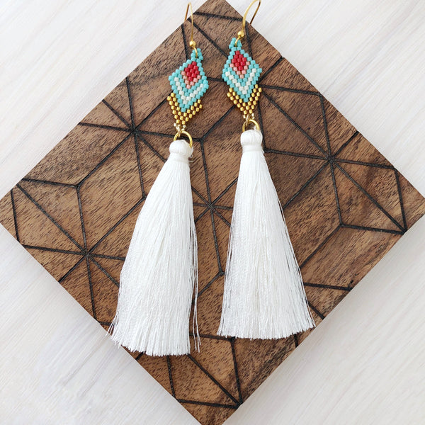 Palm Springs Woven Tassel Earrings