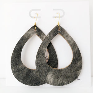 Aged Black Genuine Leather Teardrop Cutout Hoop Earring
