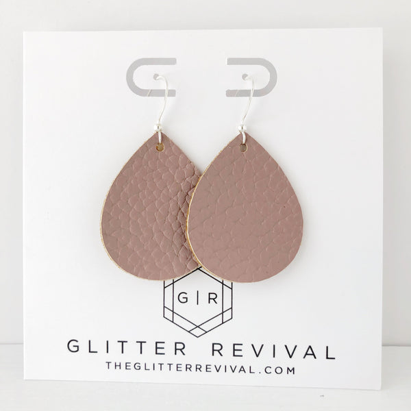 Mauve Vegan Leather Petite Teardrop Earring