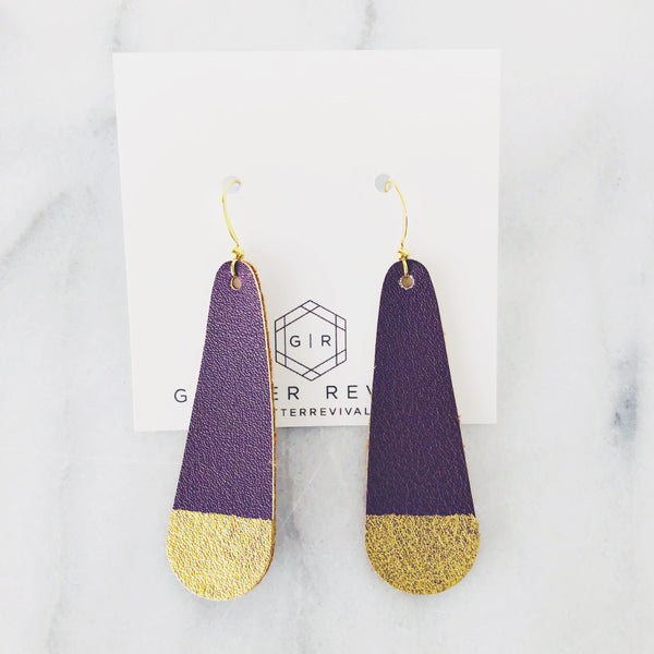 Gold Dipped Eggplant Simple Drop Earring