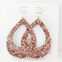 Rose Gold Glitter Teardrop Cutout Hoop Earring
