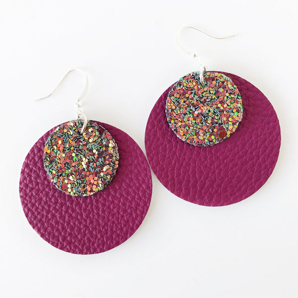 Bright Flame Layered Circle Earrings