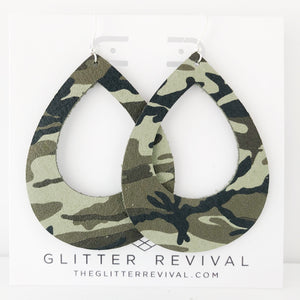 Camo Genuine Leather Teardrop Cutout Hoop Earring