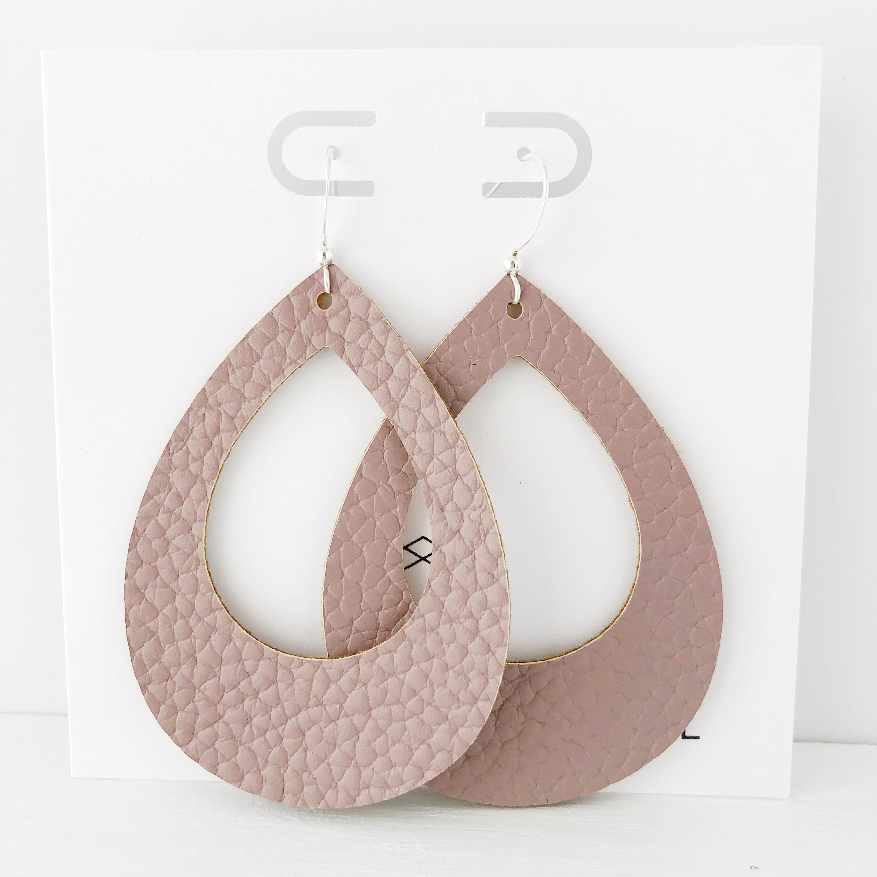 Mauve Vegan Leather Teardrop Cutout Hoop Earring
