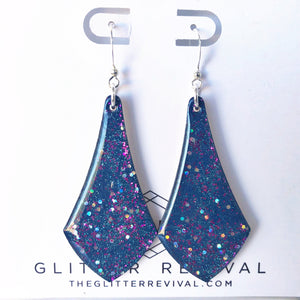 Handpainted Triangle Dangle Earring- Galaxy