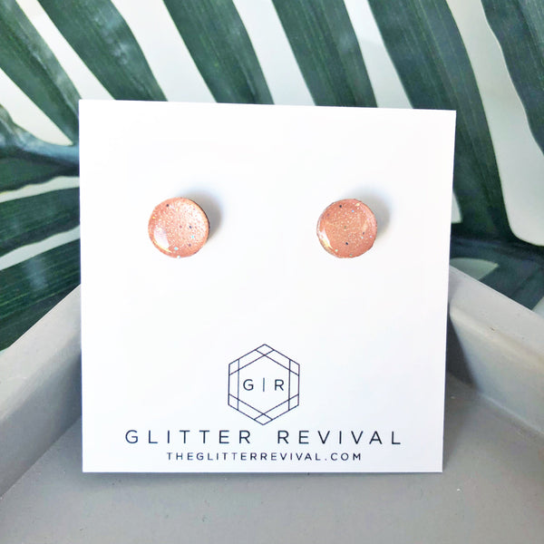 Round Glitter Studs-Shimmering Rose Gold