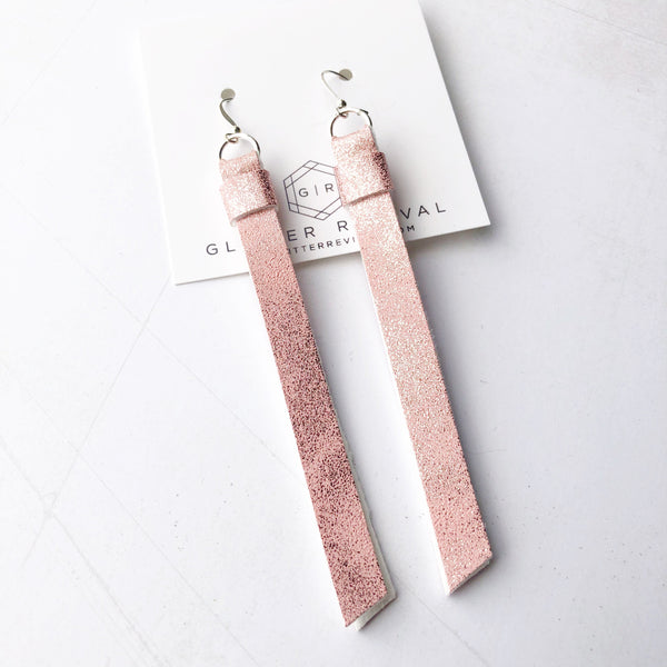 Super Slim Tassel Earrings- Blush Patina