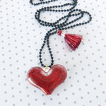 Glitter Heart Resin Necklace