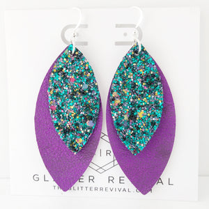 Vibrant Peacock Layered Petal Earrings