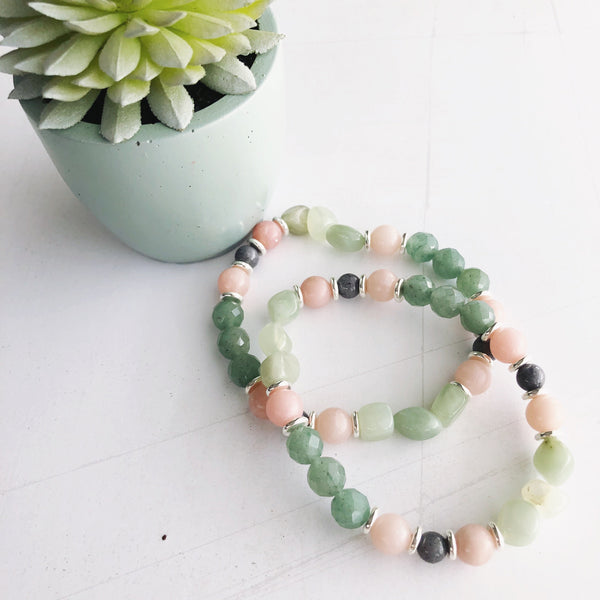 Dusty Sage Beaded Stretch Bracelet