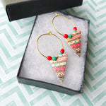 Aztec Triangle Petite Beaded Hoop Earrings