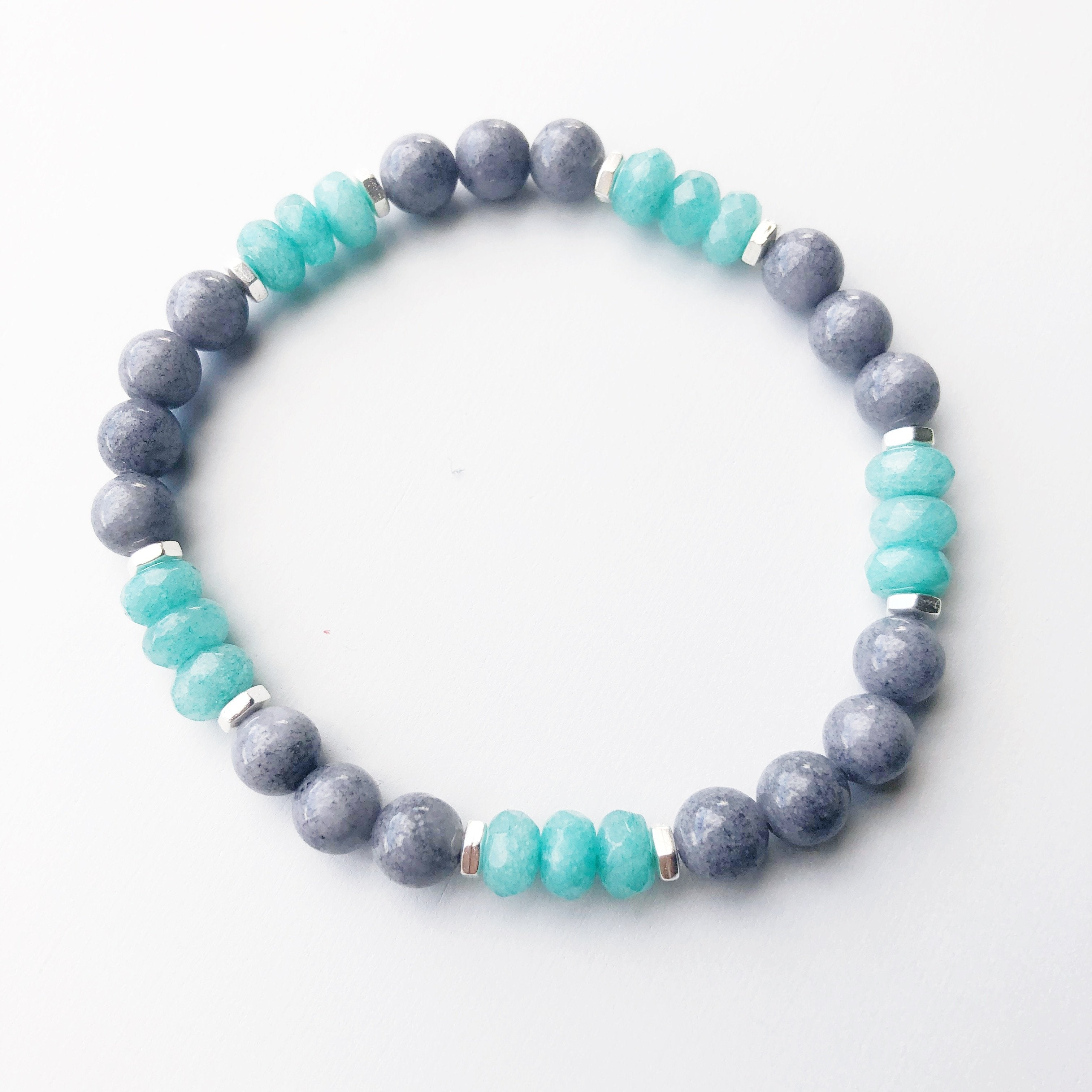 Gray Jade & Aqua Jade Beaded Stretch Bracelet