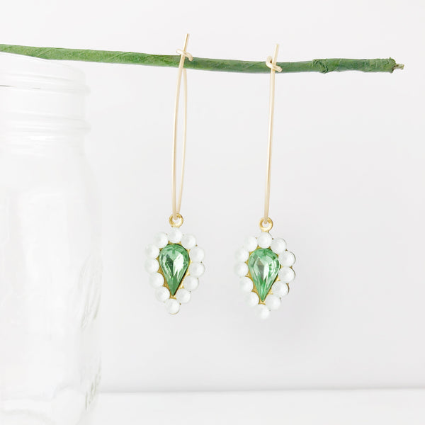 Vintage Glass Drop Hoop Earrings