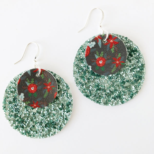 Mint Floral Layered Circle Earrings