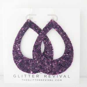 Eggplant Glass Glitter Teardrop Cutout Hoop Earring