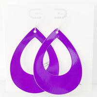 Neon Purple Patent Teardrop Cutout Hoop Earring