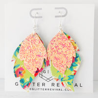 Island Floral Layered Leaf Earrings