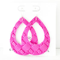 Hot Pink Braided Weave Teardrop Cutout Hoop Earring