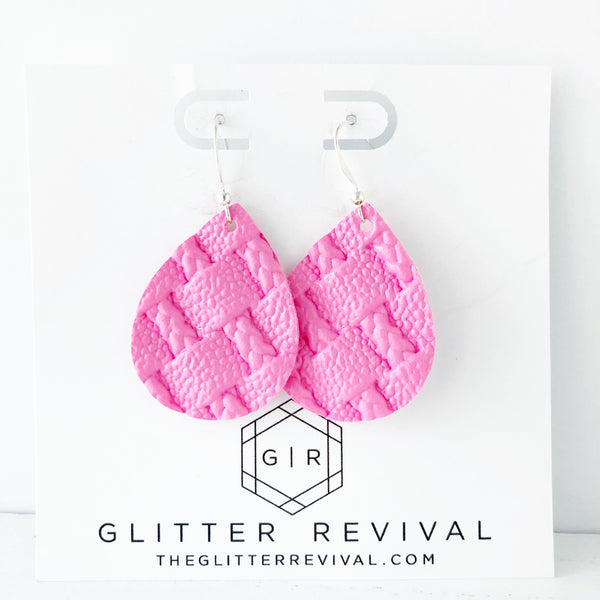 Bubblegum Pink Braided Weave Petite Teardrop Earring