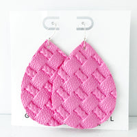 Bubblegum Pink Braided Weave Jumbo Teardrop Earring