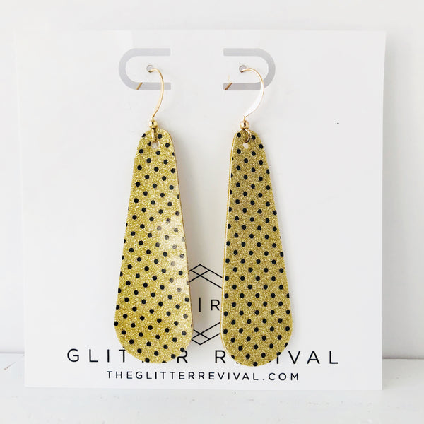 Gold Glitter Polka Dot Patent Simple Drop Earring