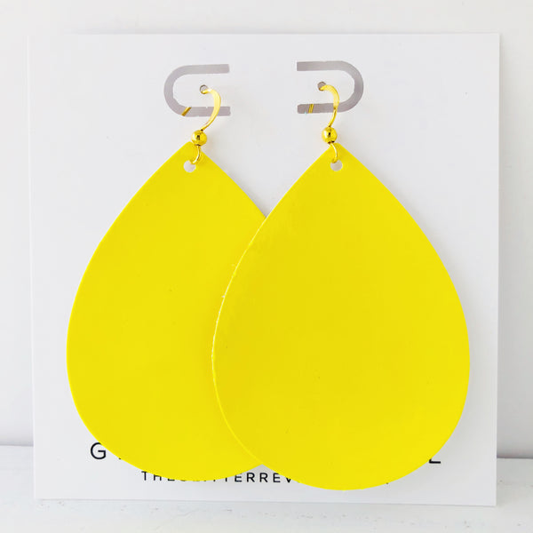 Sunshine Yellow Patent Jumbo Teardrop Earring