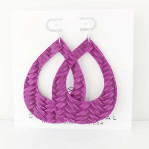Magenta Braided Genuine Leather Teardrop Cutout Hoop Earring