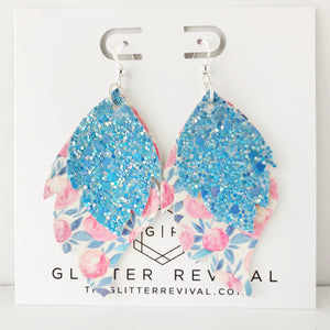Cool Blue Floral Layered Leaf Earrings