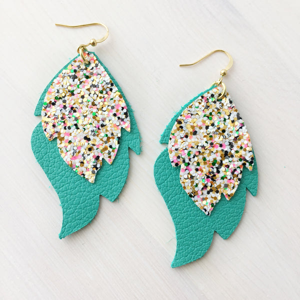 Atomic Bomb & Aqua Layered Leaf Genuine Leather Earrings