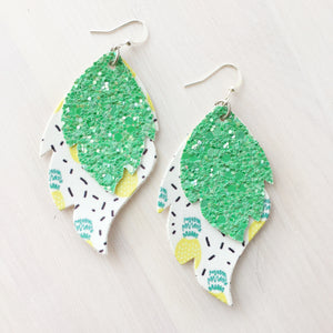 Pineapples with Green Glitter Layered Leaf Earrings