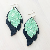 Navy and Mint Layered Leaf Genuine Leather Earrings