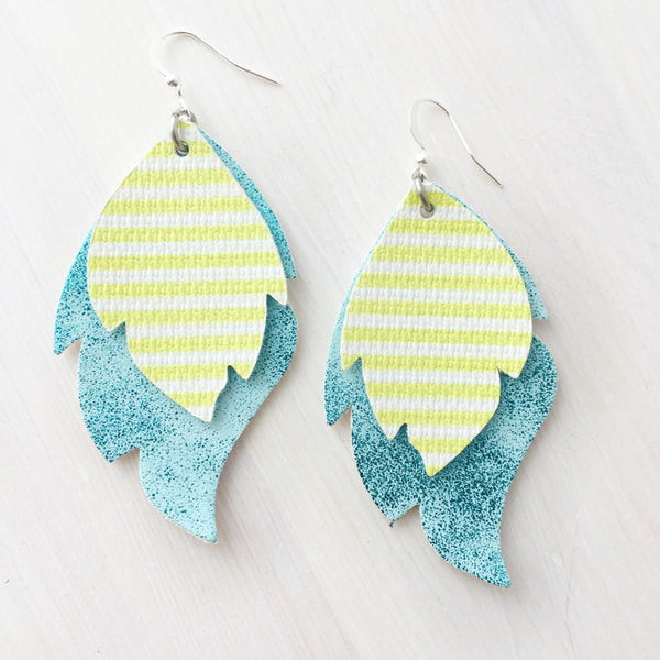 Sky Blue and Yellow Stripe Layered Leaf Earrings