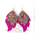 Magenta Flame Layered Leaf Earrings