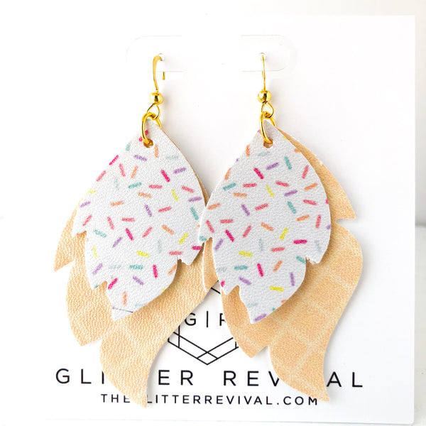 Ice Cream Sundae Layered Leaf Earrings