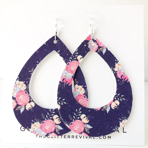 Midnight Peony Teardrop Cutout Hoop Earring