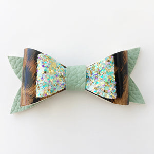 Shimmering Sage and Leopard Bow