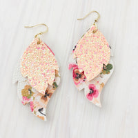 Coral Floral Layered Leaf Earrings