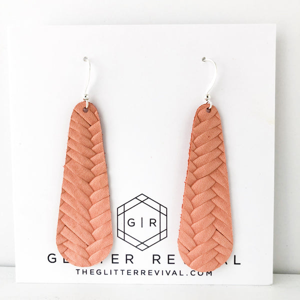 Salmon Braided Genuine Leather Simple Drop Earring