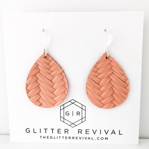 Salmon Braided Genuine Leather Petite Teardrop Earring