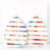 Floral Stripe Genuine Leather Jumbo Teardrop Earring