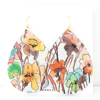 Poppy Field Genuine Leather Jumbo Teardrop Earring
