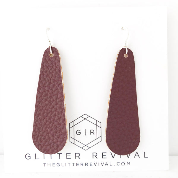 Textured Maroon Simple Drop Earring